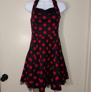 UK designer Rockabilly dolka dot halter dress